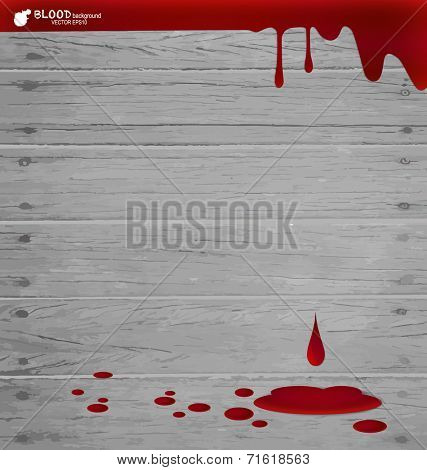 Blood dripping on wood wall, blood background. Vector illustration.