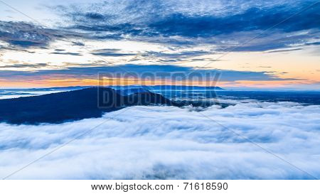 The Sea Of Mist In The Morning At Pha Mo I Daeng Cliff, Sisaket, Thailand