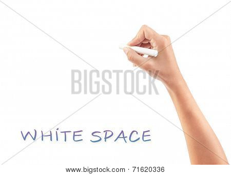 Female hand writing something on white copy space, body part, place for advertisement concept