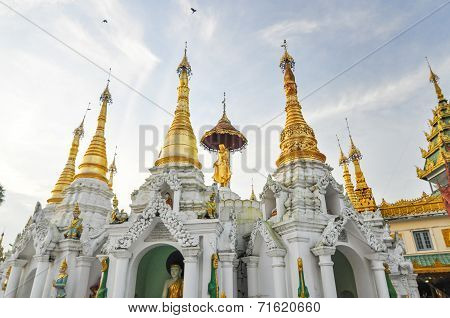Little Pagodas Around Shwedagon Paya In Yangon, Myanmar