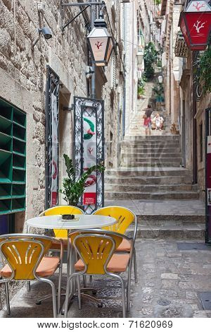 DUBROVNIK, CROATIA - MAY 27, 2014: Terrace table of Dolce Vita, one of the most popular ice cream place in Dubrovnik.