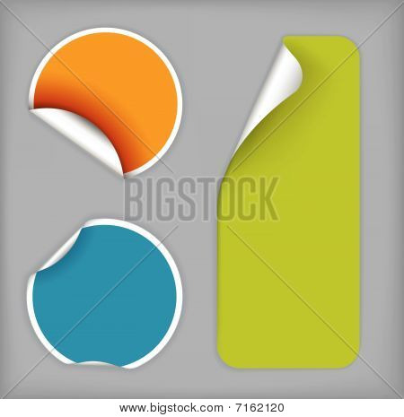 Set Of Fresh Labels (vivid Colors) On Gray Background