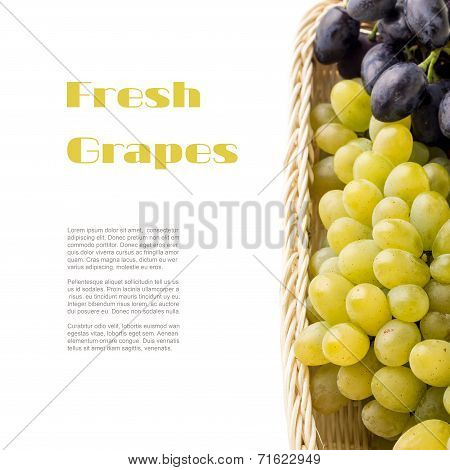Different Varieties Of Table Grapes In Wicker Basket With Copyspace White Background