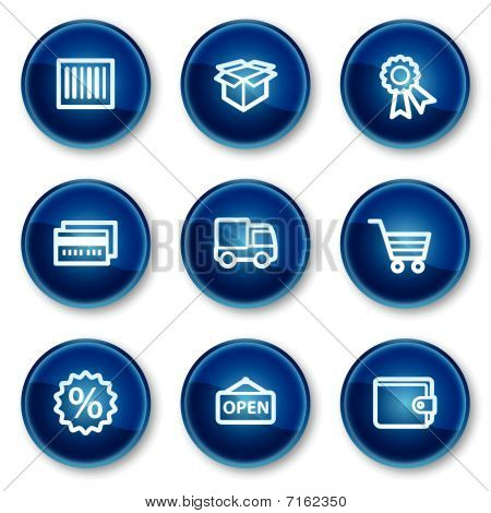 Shopping web icons set 2, blue circle buttons