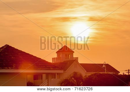 Buildings Silhouettes At Sunrise On Cape Hatteras National Seashore