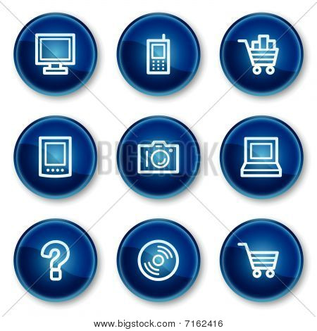 Electronics web icons set 1, blue circle buttons