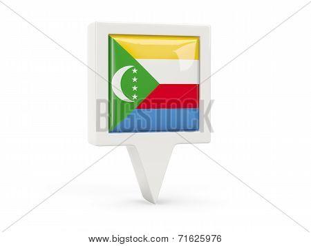 Square Flag Icon Of Comoros
