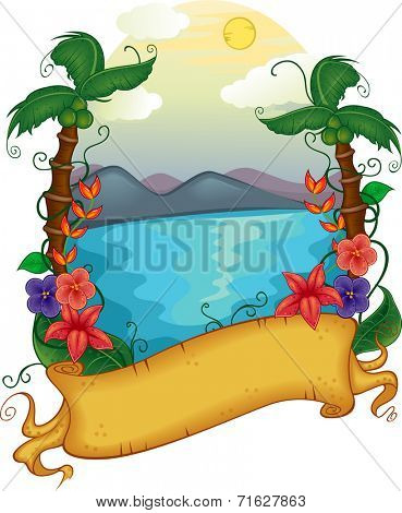 Illustration Featuring a Banner with a Hawaiian Theme