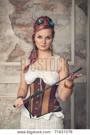 Beautiful Steampunk Woman With Whip