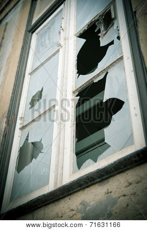 Window with the glass shattered