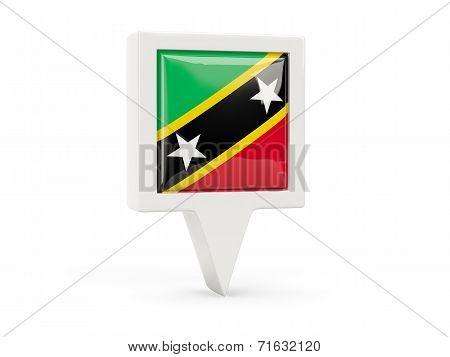 Square Flag Icon Of Saint Kitts And Nevis