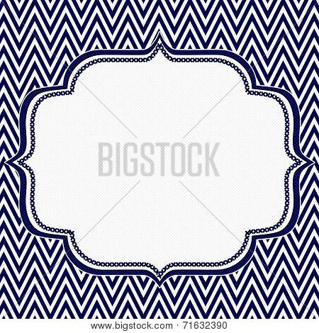 Navy Blue And White Chevron Zigzag Frame Background