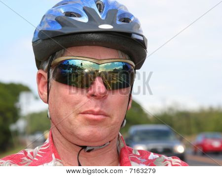 Bicyclist in a helmet