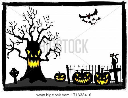 Creepy Tree At A Cemetery On Halloween