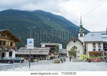 LES HOUCHES, FRANCE - AUGUST 23: Les Houches town centre. Les Houches is one of the Tour du Mont Blanc villages. August 23, 2014 in Les Houches.