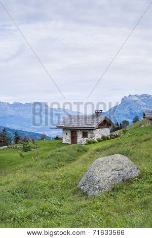 ST-GERVAIS-LES-BAINS, FRANCE - AUGUST 25: Chalet at the Truc Hostel, at bottom of the Domes de Miage mountain. This is one of the stages of the Mont Blanc Tour August 25, 2014 in St-Gervais-les-Bains.