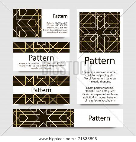 Business cards pattern with Islamic morocco ornament. Includes seamless pattern