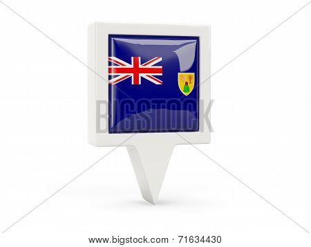 Square Flag Icon Of Turks And Caicos Islands