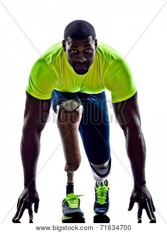 one muscular handicapped man starting line  with legs prosthesis in silhouette on white background