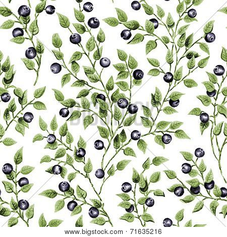 Illustration of seamless pattern with blueberry