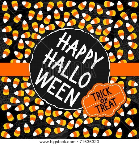 Halloween candy colorful card with halloween wishes