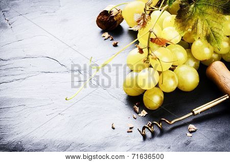 Bunch Of White Grape With Grapevine