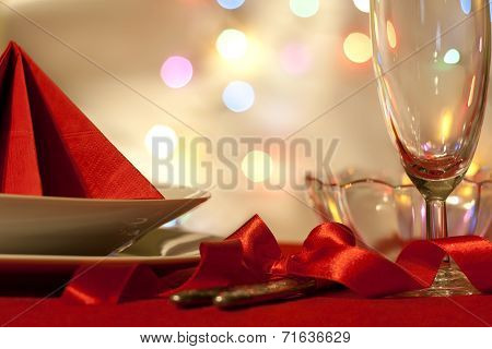 Christmas table with dishware