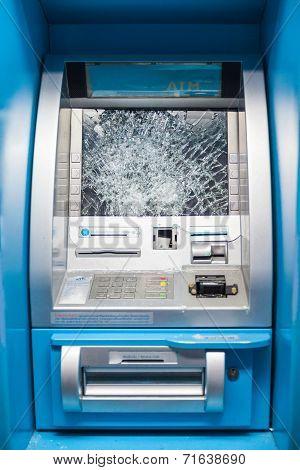 Smashed ATM
