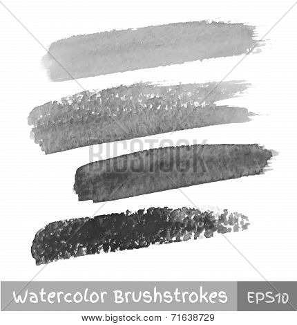 Set of Gray Watercolor Brush Strokes