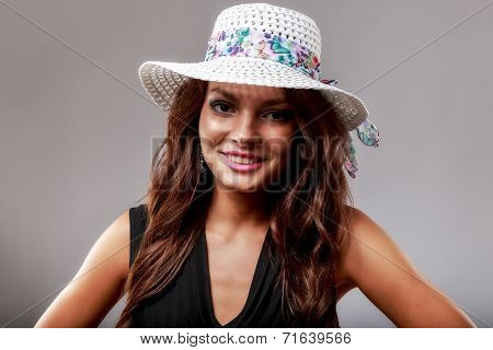 Happy Woman With white Hat