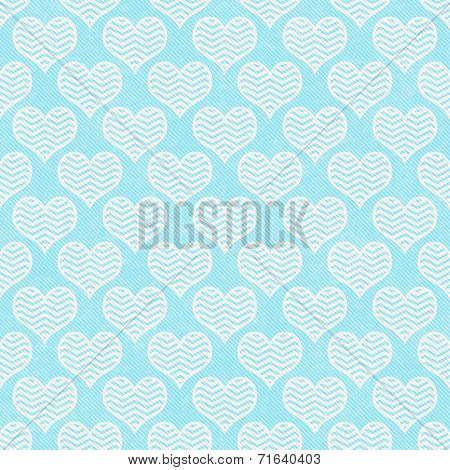 Teal And White Chevron Hearts Pattern Repeat Background