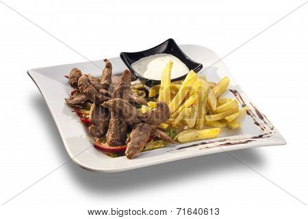 Delicious Lunch Made Of Roasted Lamb Meat And Vegetables, French Fries, Mayonnaise
