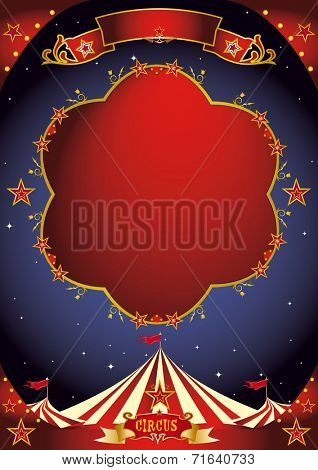 circus poster night. A poster design with a large empty frame for your entertainment