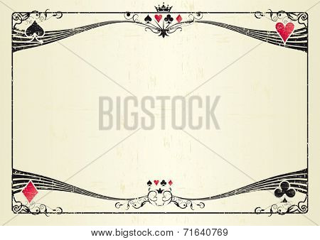 Horizontal grunge casino. A grunge horizontal background for a poker tournament. Ideal for a screen or a tablet