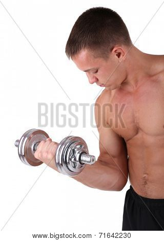 Young muscular sportsman execute exercise with dumbbell isolated on white