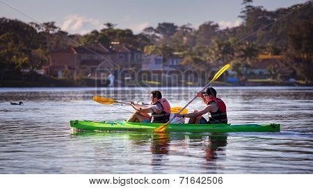 Fishing trip in a canoe - two guys
