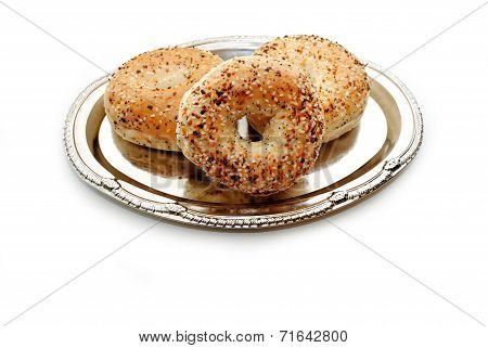 Delicious Multigrain Bagels Served On A Silver Platter