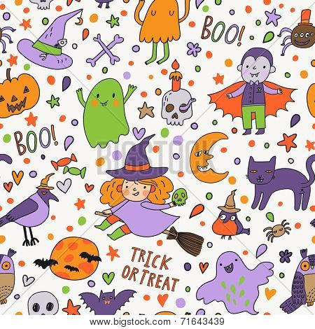 Bright vector Halloween seamless pattern. Cute holiday symbols in cartoon style - witch, vampire, pumpkin, birds, ghosts, moon, cat, skull and others