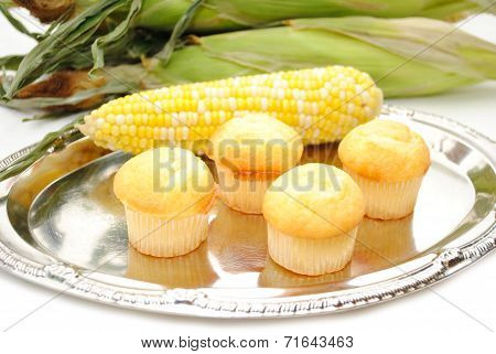 Fresh Corn With Corn Muffins On A Silver Tray