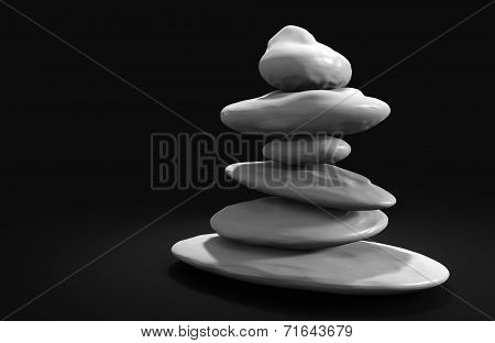 Spa stones balanced in a tower, rendered in 3D