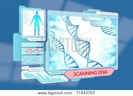 Futuristic DNA scanning medical procedure for monitoring health