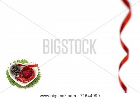Picture with red ribbon, heart shape small bowl and decorations
