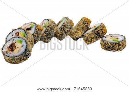 Sushi Rolls Isolated On White Background