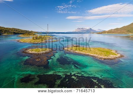 fjord with small island. Tipical view of lofoten