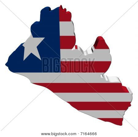 Liberia 3d Map Flag illustration