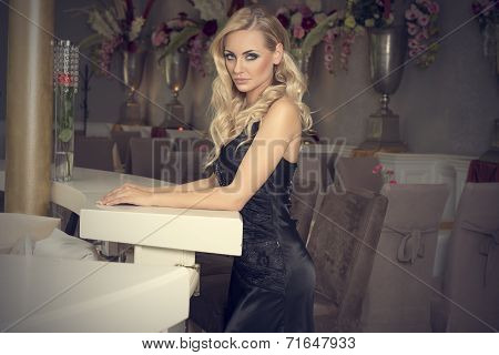 Elegant Blond Girl At The Bar Posing