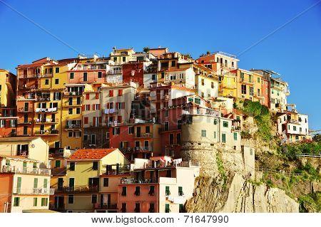 Traditional Mediterranean Architecture Of Manarola, Italy