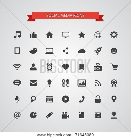 Set of modern flat design social media icons