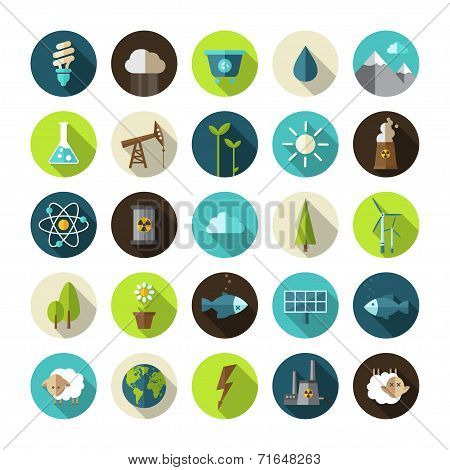 Modern flat design conceptual ecological icons