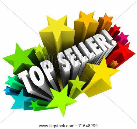 Top Seller 3d words in colorful stars as the best salesperson in a company or organization closing the most sales